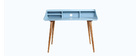 Bureau design frêne teinté bleu clair NORDECO