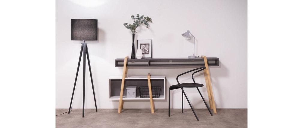 Bureau design gris et blanc wood tang compo 3 miliboo - Bureau gris et blanc ...