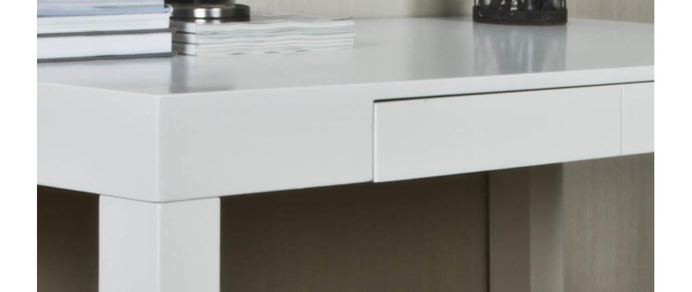 Bureau design laqu blanc 120cm abby miliboo - Bureau laque blanc brillant ...