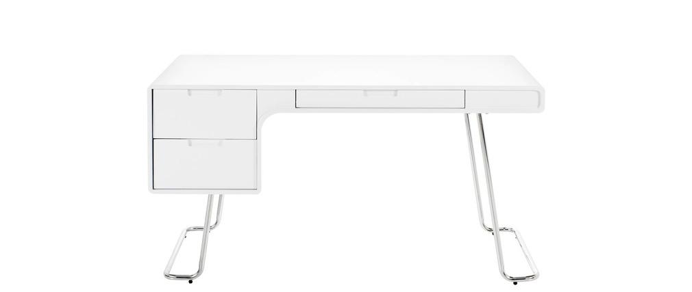 Bureau design laqu blanc brillant 3 tiroirs treck miliboo - Bureau laque blanc brillant ...