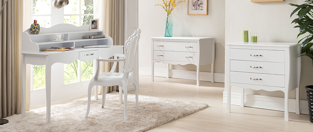 Bureau design laqué blanc MARGOT