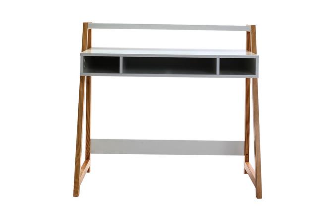 Bureau design laqué blanc mat et bois stoka miliboo