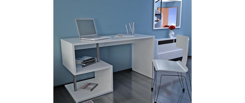 Bureau design laqu blanc maxime miliboo for Bureau laque blanc design
