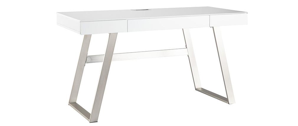Bureau design laqué blanc pieds métal 140 cm MANA
