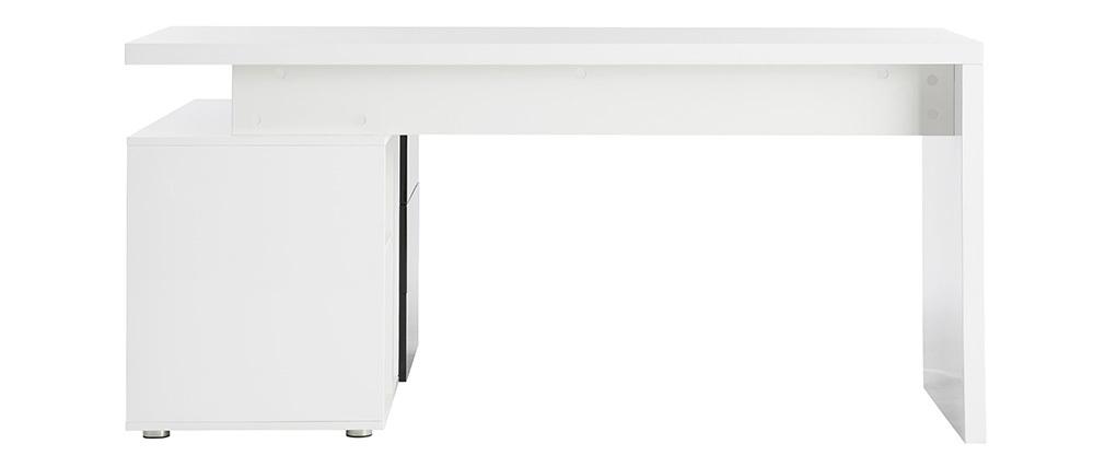 Bureau design laqué brillant blanc et noir avec rangements à droite MAXI