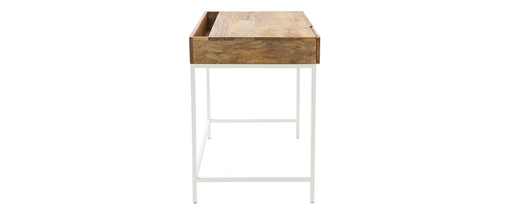 Bureau design manguier et métal blanc BOHO