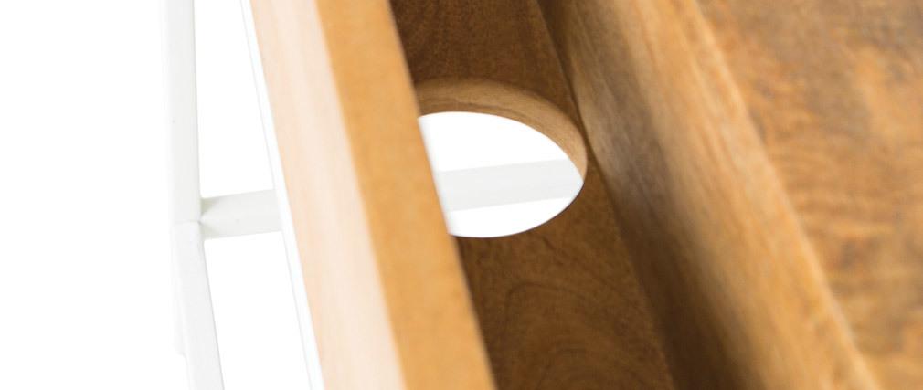 Bureau design manguier massif et métal blanc BOHO