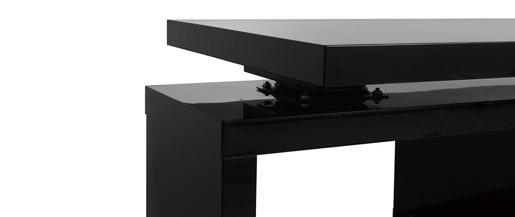Bureau design modulable avec rangement 2 tiroirs amovible noir laqué MAX