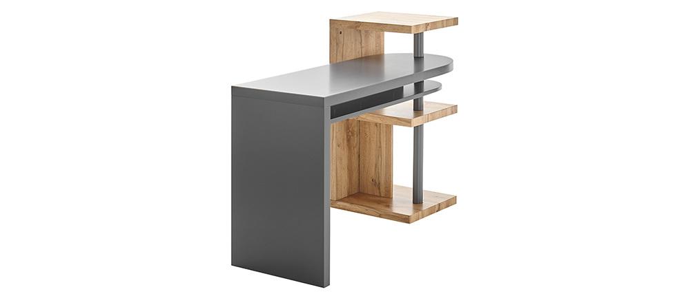 Bureau design modulable avec rangements gris et bois SWIPE