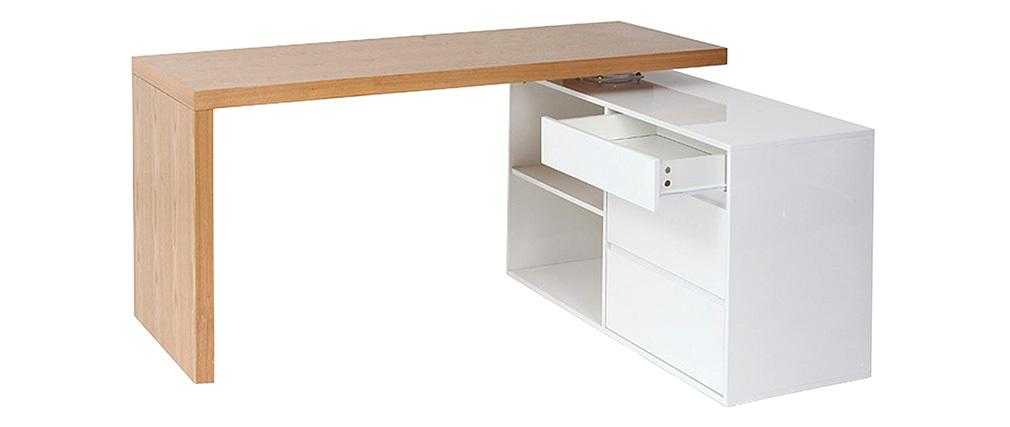 Bureau design modulable blanc brillant et frêne NEW MAX