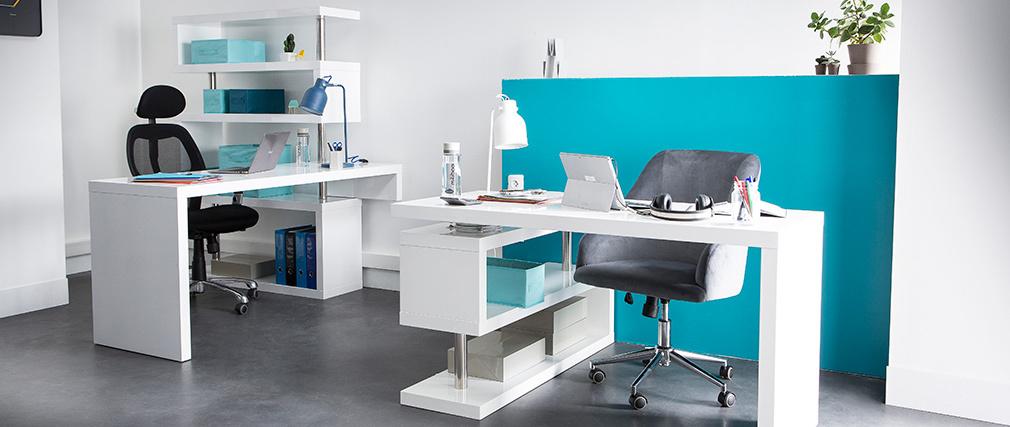 Bureau design modulable blanc laqué brillant T-MAX