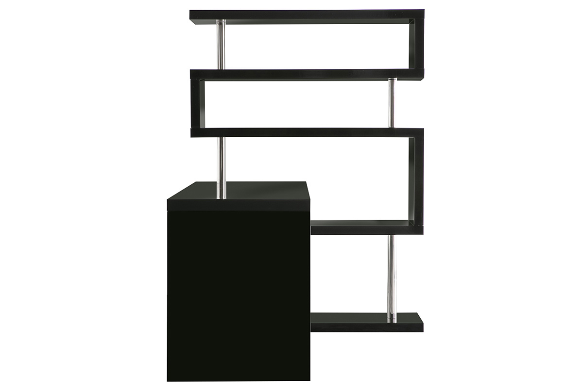 bureau design noir laqu amovible t max miliboo. Black Bedroom Furniture Sets. Home Design Ideas