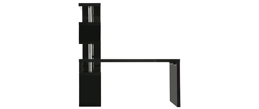 Bureau design noir laqué brillant amovible T-MAX