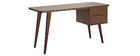 Bureau design noyer L140 cm FIFTIES