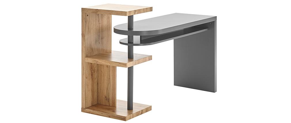 Bureau design pivotant avec rangements gris et bois SWIPE
