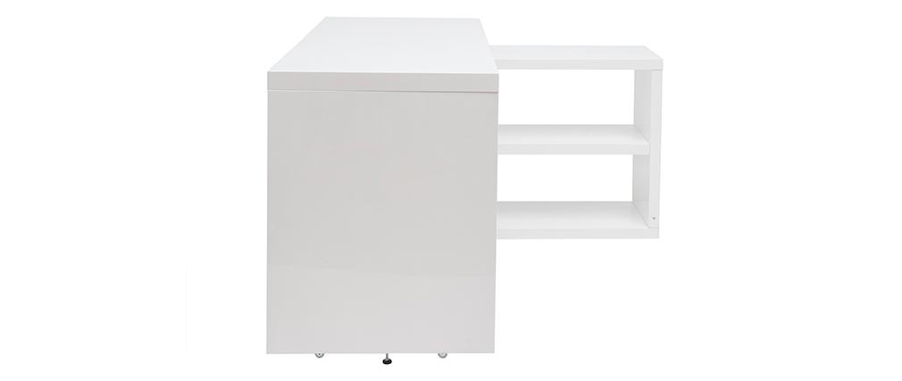 Bureau design pivotant laqué blanc brillant L147-217 cm HALTON