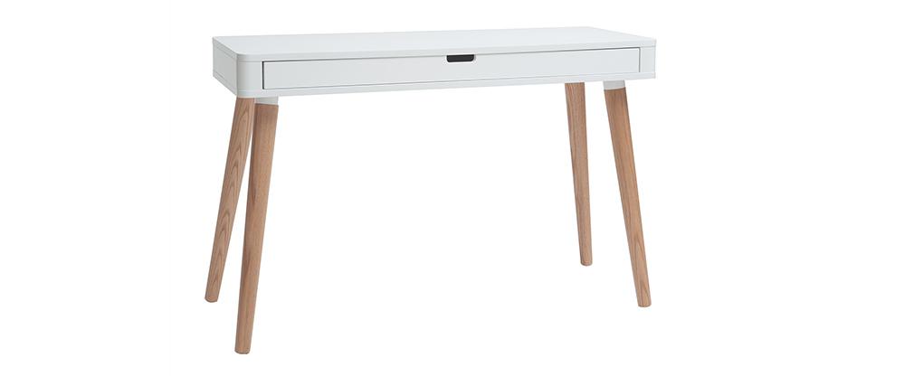 bureau design scandinave blanc et bois totem miliboo. Black Bedroom Furniture Sets. Home Design Ideas