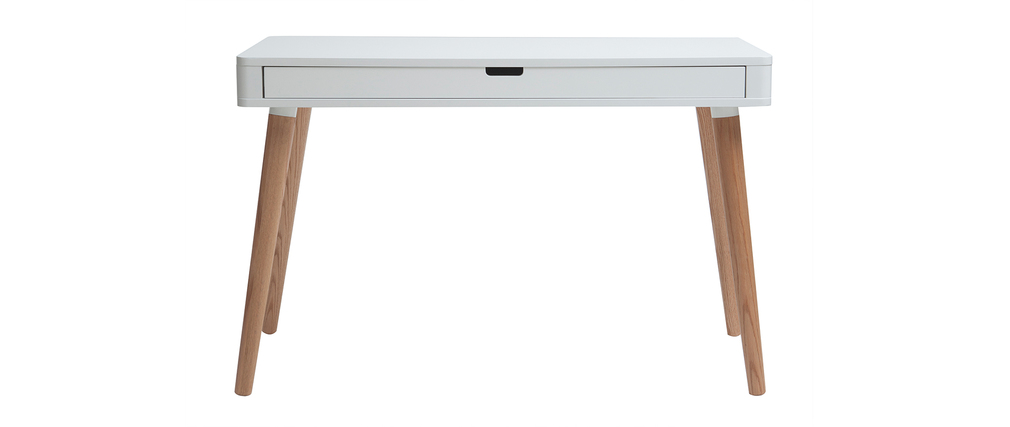 Bureau Design Bois Et Blanc : Bureau design scandinave blanc et bois TOTEM, aspect technique :