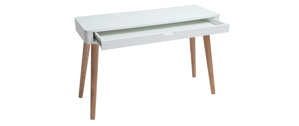 Bureau Design Bois Et Blanc : Bureau design scandinave blanc et bois TOTEM – Miliboo