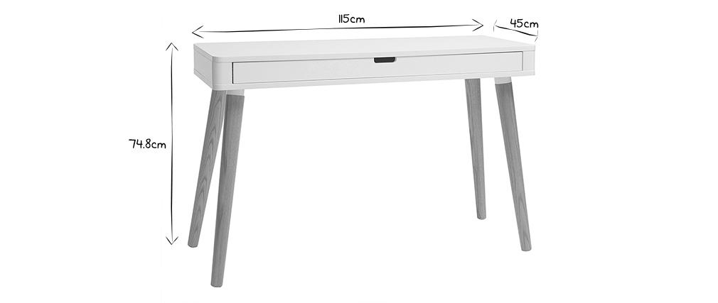 Bureau design scandinave blanc et bois TOTEM