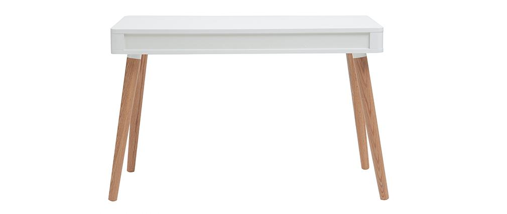 Bureau design scandinave blanc et bois totem miliboo - Bureau bois scandinave ...