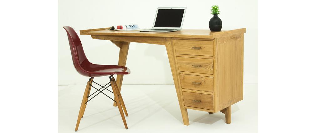bureau design teck massif tektona miliboo. Black Bedroom Furniture Sets. Home Design Ideas