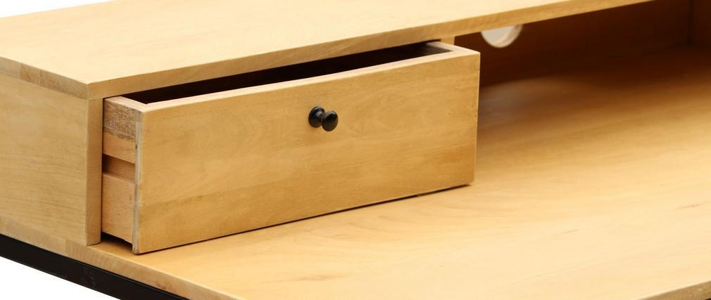 Bureau en manguier et métal noir avec tiroirs OPIUM