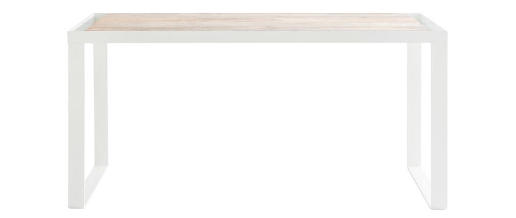Bureau en manguier massif et métal blanc L150 cm PUKKA