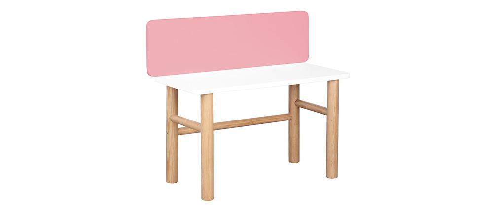 Bureau enfant avec banc rose et bois clair BERTY