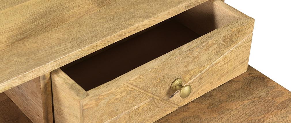 Bureau gravé en manguier massif et métal doré L115 cm LINIUM