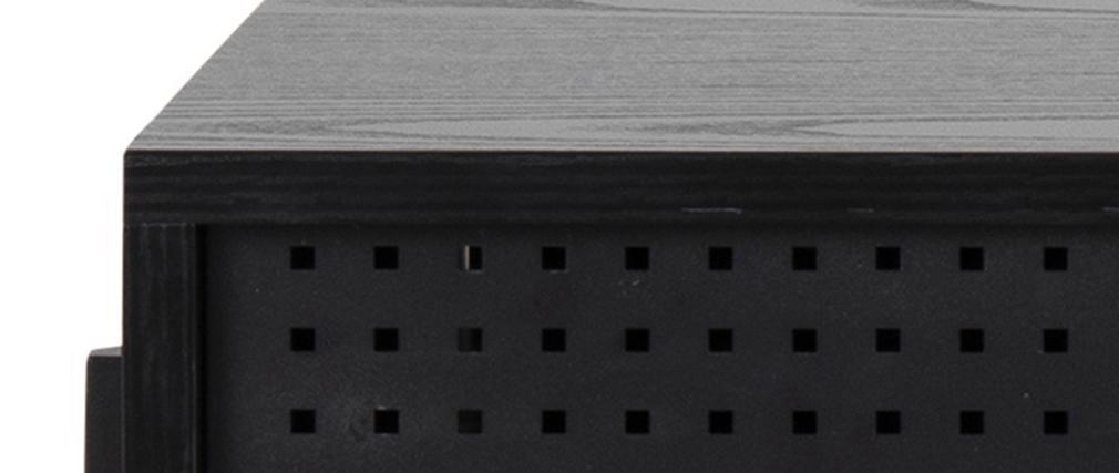 Bureau industriel avec porte perforée bois et métal noir L110 cm MAO