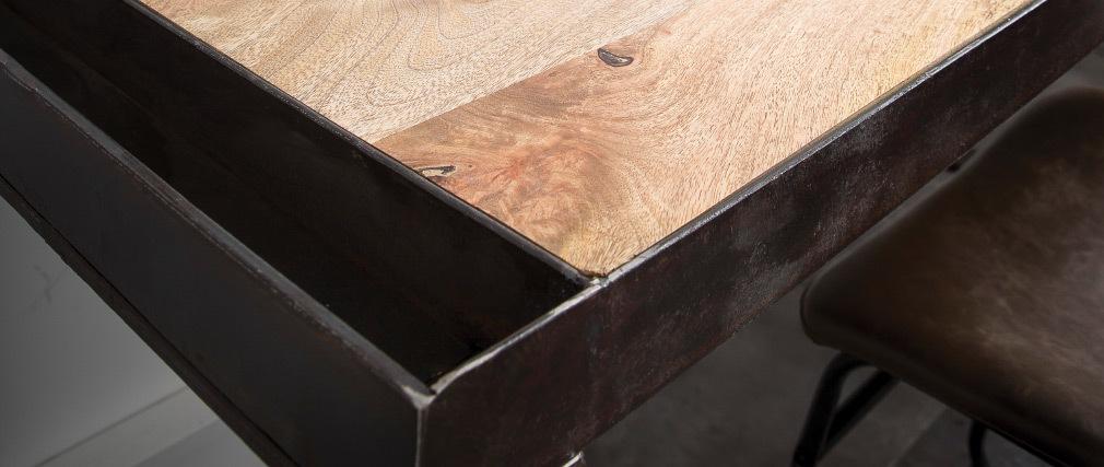 Bureau industriel en manguier massif et métal L156 cm INDUSTRIA