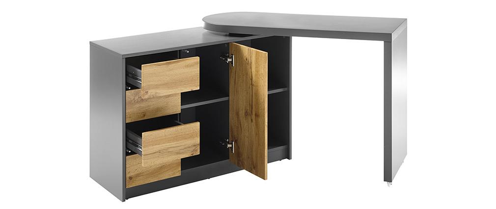 Bureau modulable avec rangement placage chêne et gris CARTER