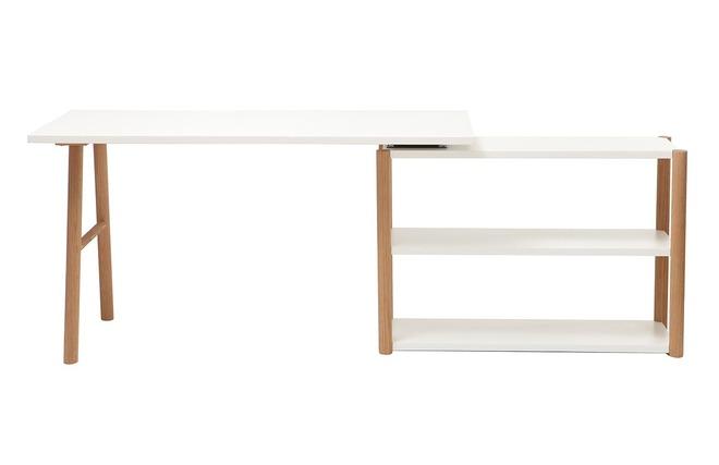Bureau Blanc Et Chene : Bureau pivotant design scandinave blanc et chêne gilda miliboo