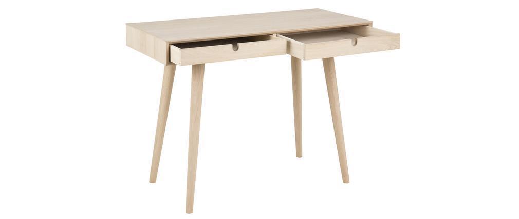 Bureau scandinave 2 tiroirs finition chêne L100 cm NOHOLI