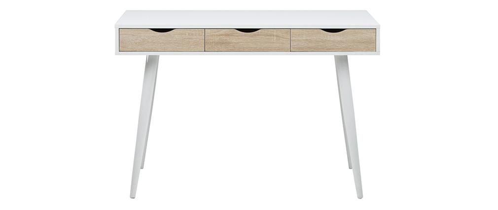Bureau scandinave 3 tiroirs blanc et bois BALZAC