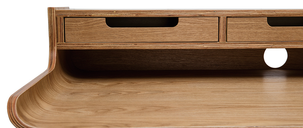 Bureau scandinave 3 tiroirs frêne L110 cm OPUS