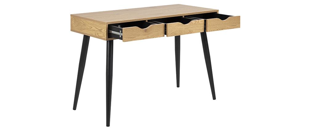 Bureau scandinave 3 tiroirs noir et bois BALZAC