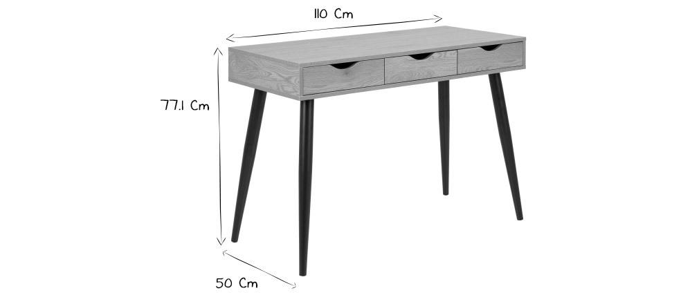 Bureau scandinave 3 tiroirs noir mat BALZAC
