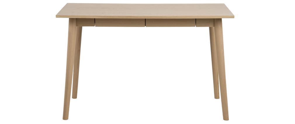 Bureau scandinave avec 2 tiroirs finition chêne L120 cm JOYCE