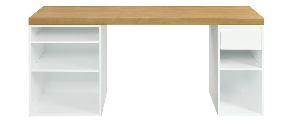 Bureau scandinave avec caissons ouverts et tiroir blancs RACKEL
