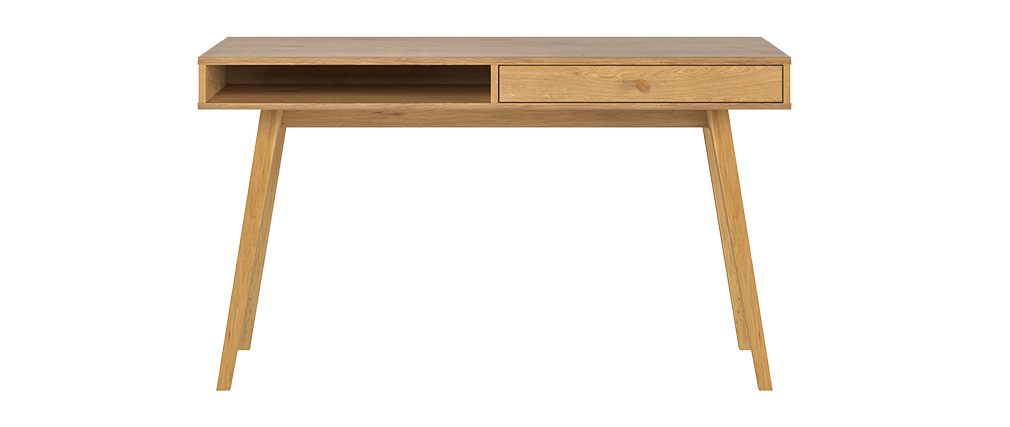 Bureau scandinave avec tiroir finition chêne L130 cm LENNY