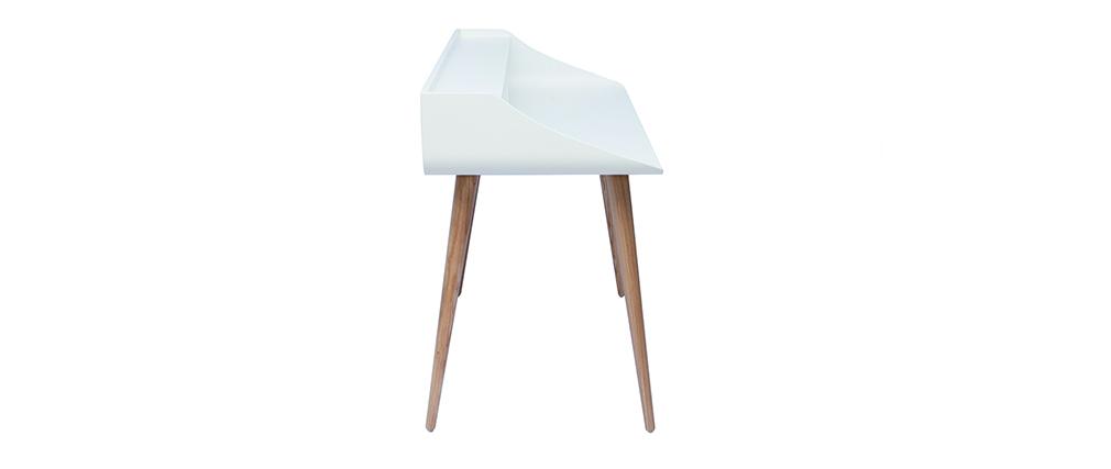 Bureau scandinave blanc et bois L120 cm NORDECO