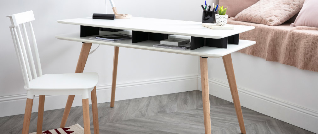 Bureau scandinave blanc et noir avec rangements et pieds en bois LEVY