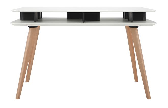Bureau scandinave blanc et noir avec rangements et pieds en bois