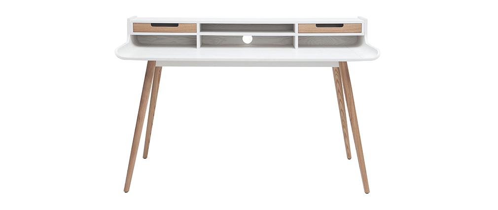 Bureau scandinave bois et blanc 2 tiroirs L140 cm OPUS
