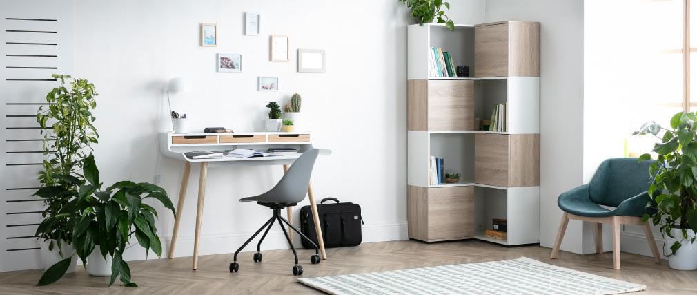 Bureau scandinave bois et blanc 3 tiroirs L110 cm OPUS