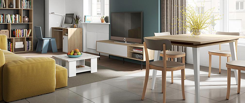 Bureau scandinave bois et blanc L115 cm COLETTE