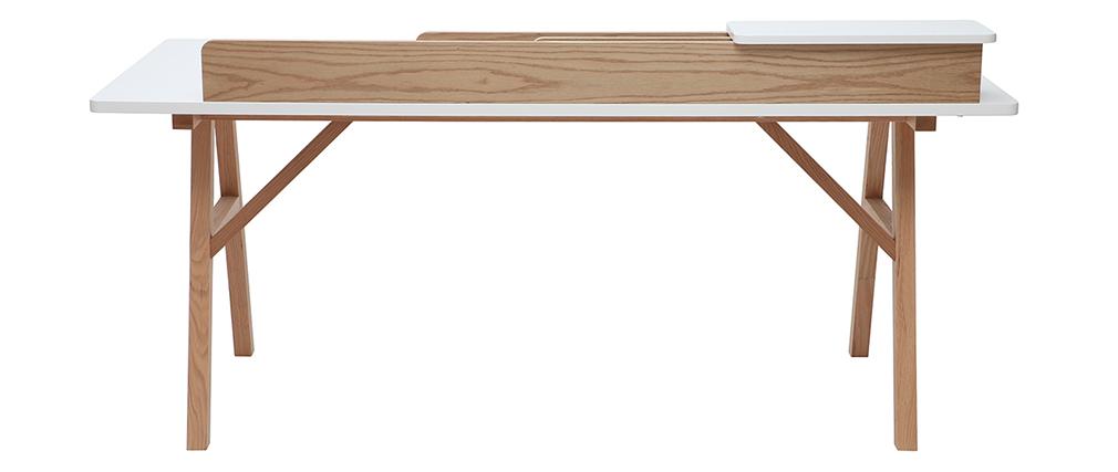Bureau scandinave bois et blanc L180 cm TOGARY