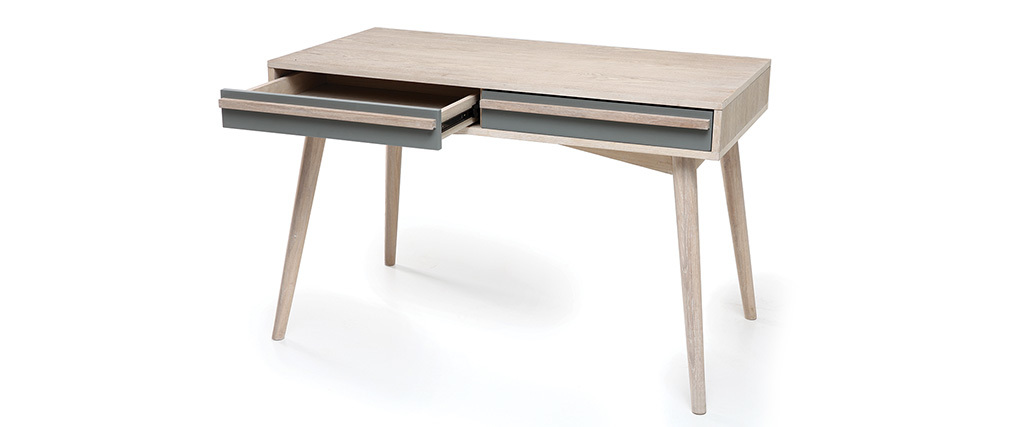 Bureau scandinave ch ne blanchi et gris mat narvik miliboo for Bureau blanc et gris